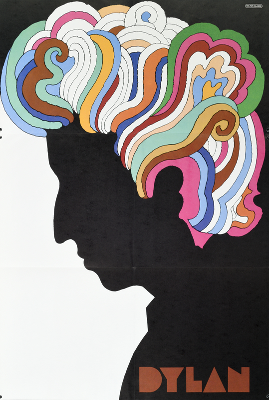 illustrational image of a man in profile with wild riainbow hair