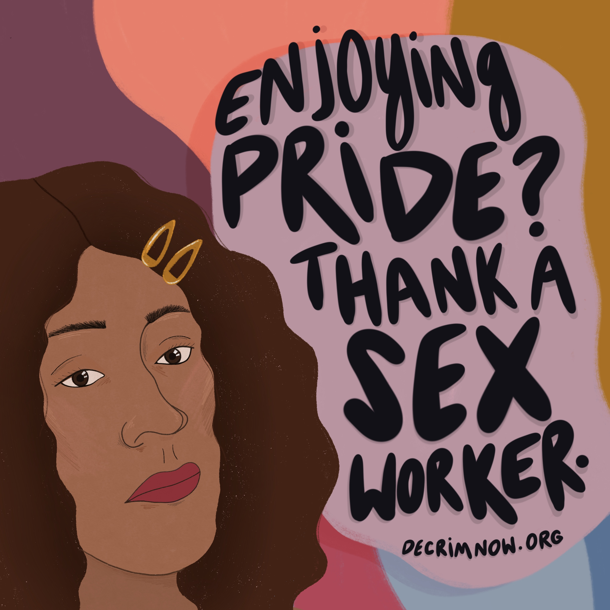 Illustration of black woman with the words enjoying pride thank a sex worker