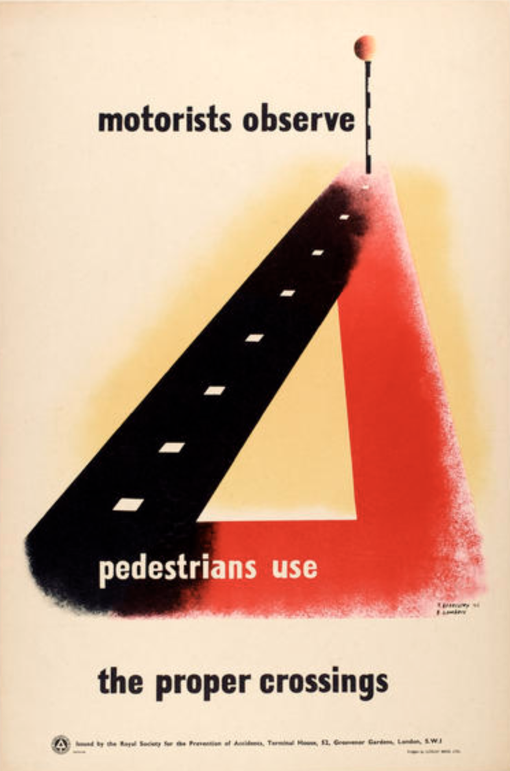 lithographic poster of an intersection that says motorists observe