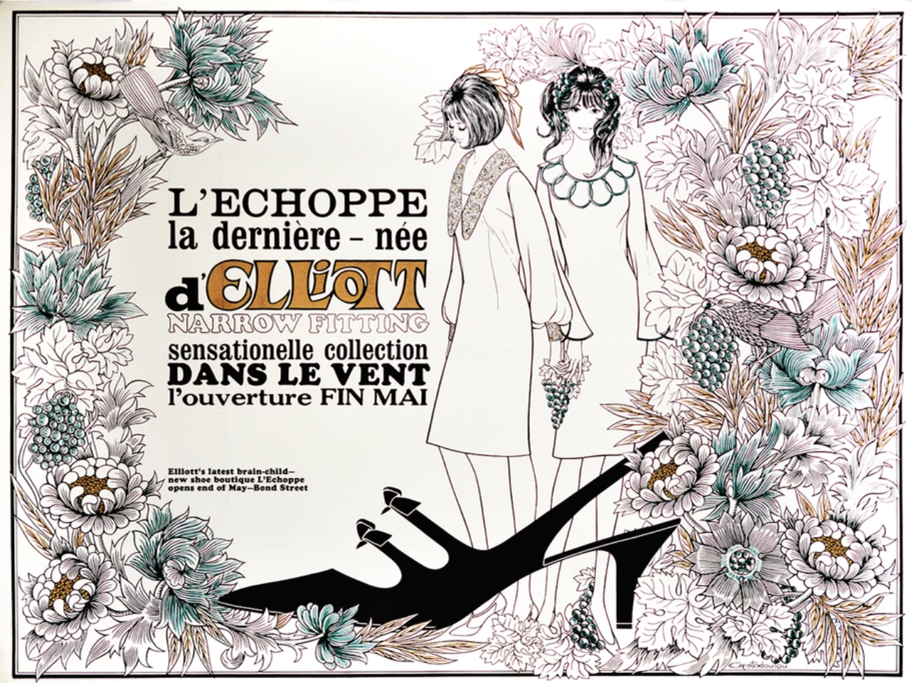 illustrational poster of two mod girls and a large black shoe