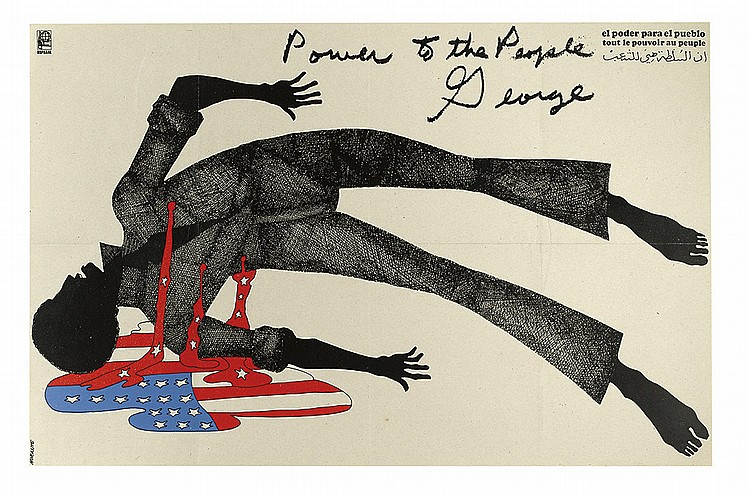 illustrational poster of a dead black man bleeding the american flag