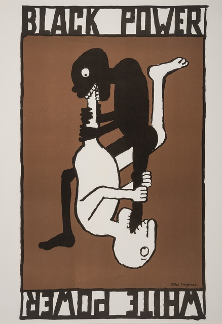 Illustrational poster featuring a black and white figure eating each other