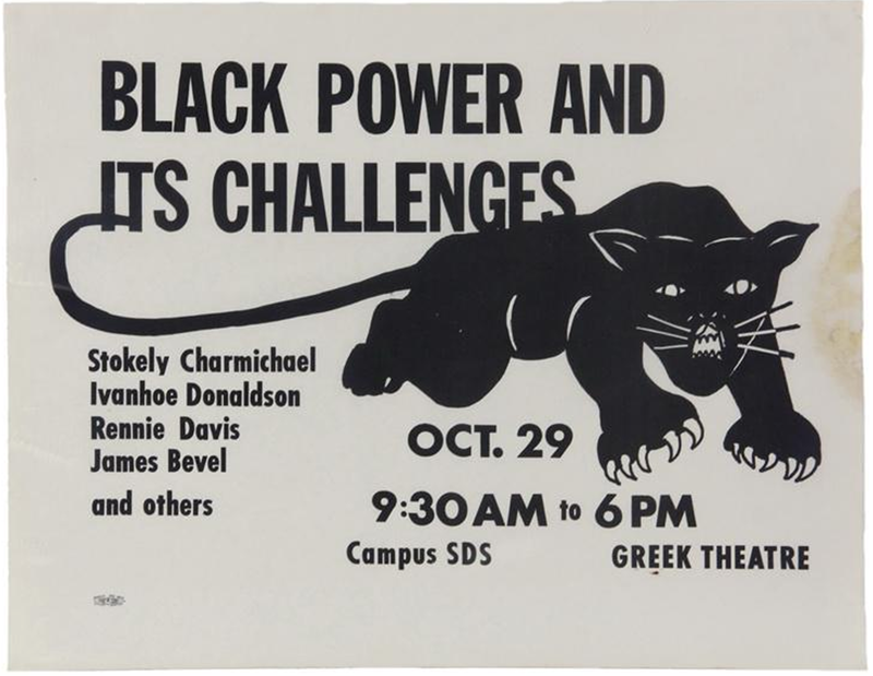 Illustrational poster promoting a Black Panther meeting.