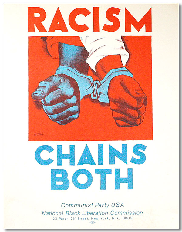 illustrational poster of two handcuffed hands with the words racism chains both