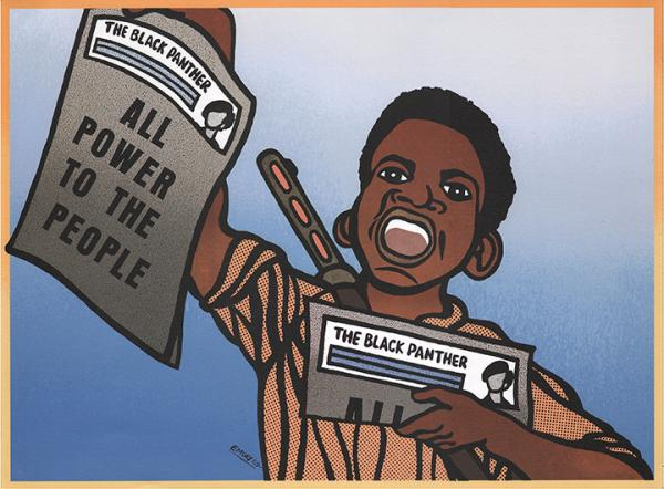 illustrational poster of a young black boy selling newspapers