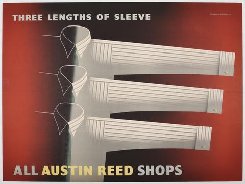 lithographic poster displaying three white men's shirts