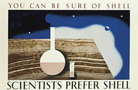 lithographic poster of a science beaker