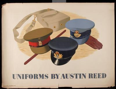 lithographic poster of three military hats