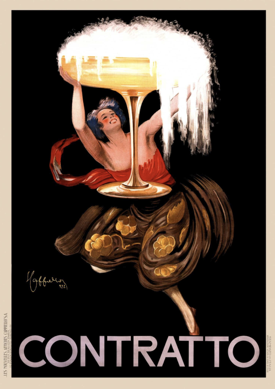 woman in flowy harm pants holding a giant glass of champagne above her head