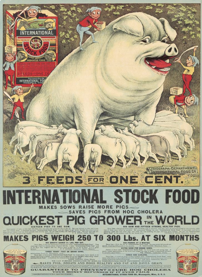 image of a giant white pig with its mouth open, a dozen small pigs suckling from its breast, as little gnomes feed it food