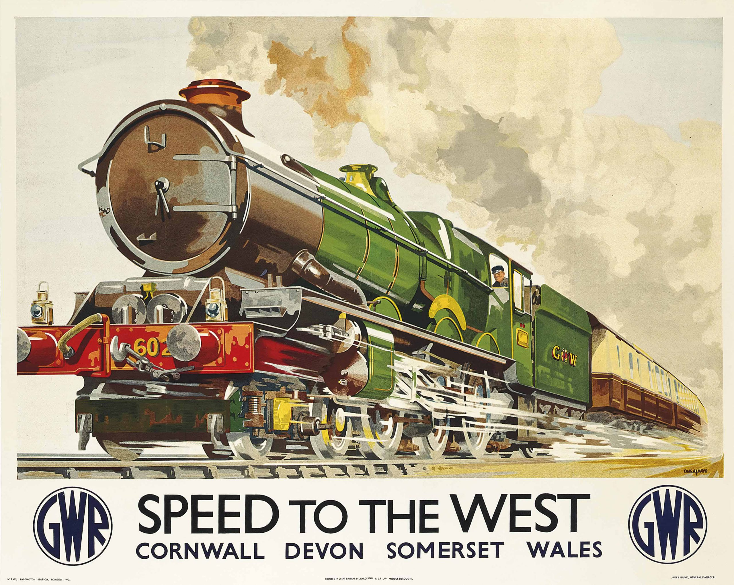 lithographic image of a train barreling to the left with the words speed to the west below