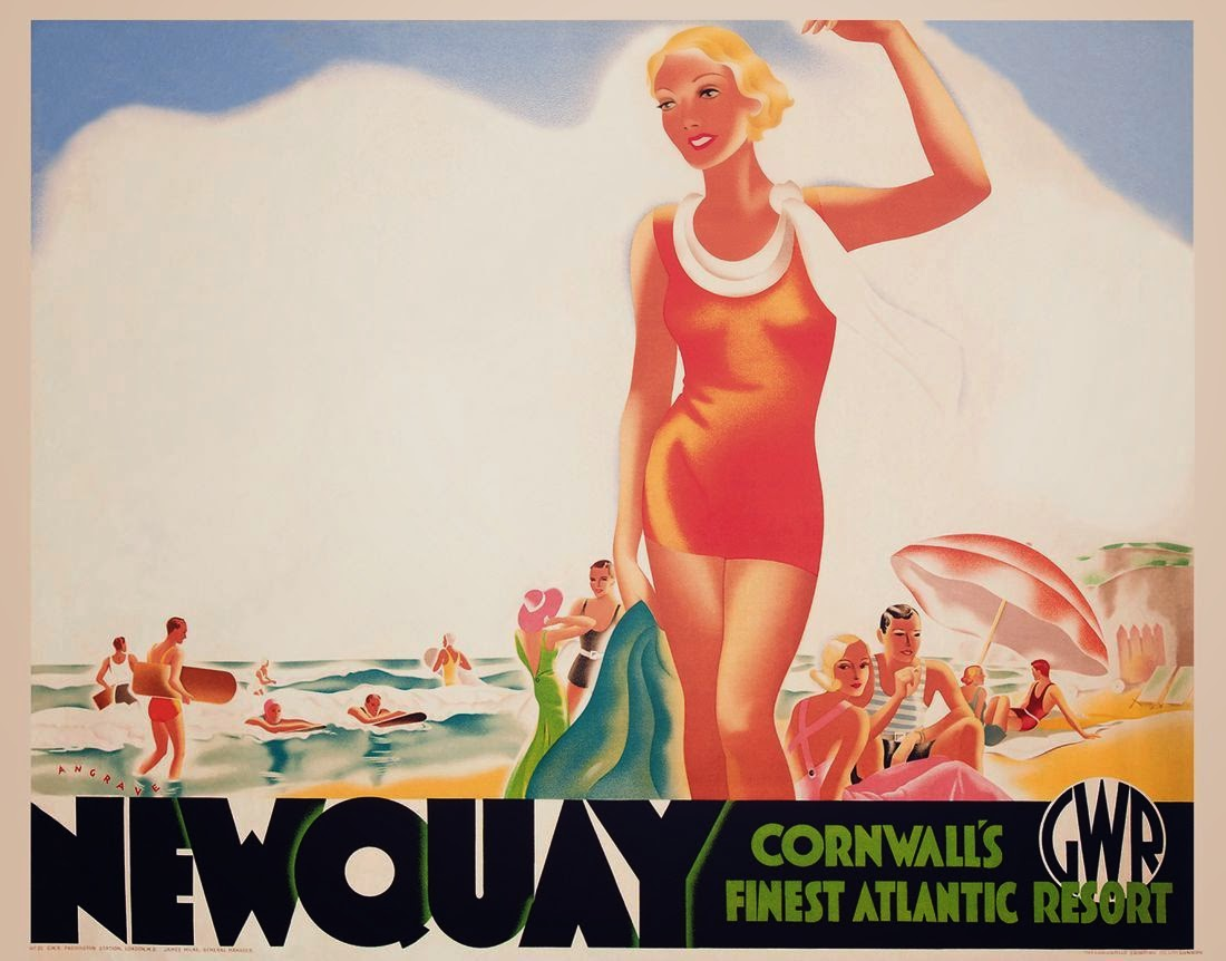 lithographic image of a woman in a red bathing suit holding a green towel and waving to an unseen person