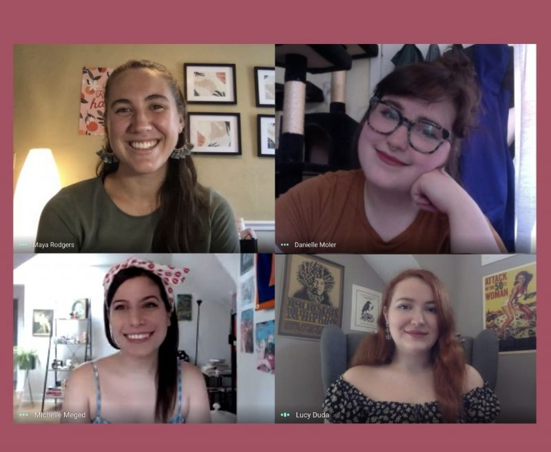 montage photo of four women taken on Zoom