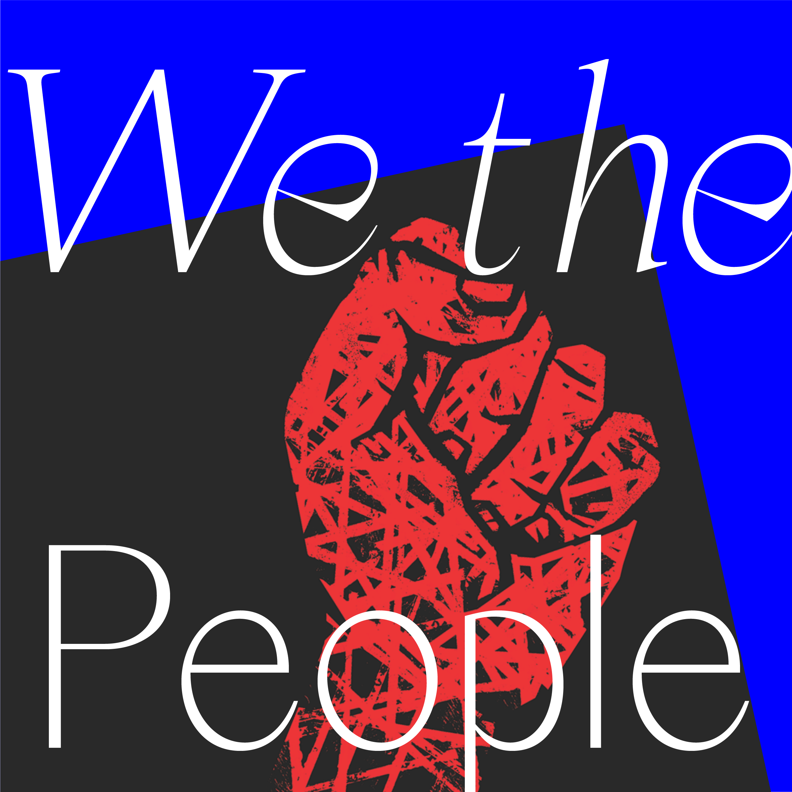 a drawn red fist against a black and blue background with the words we the people over it