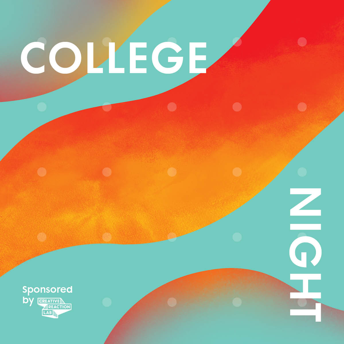 teal and orange waves announcing college night in white text