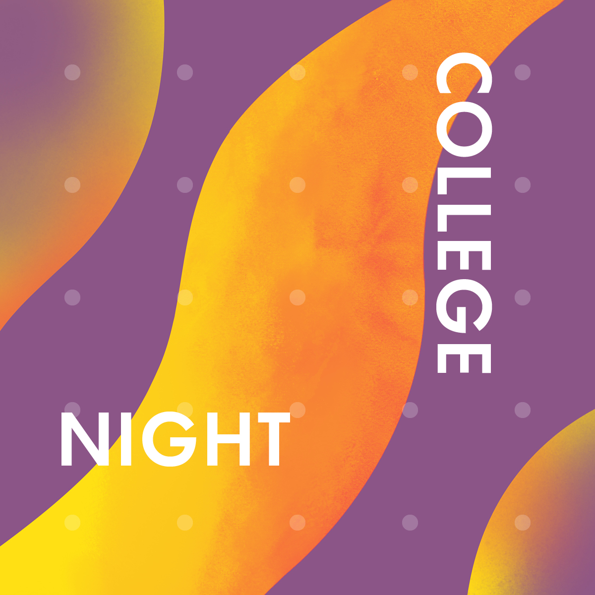 Purple and orange waves announcing college night in white text