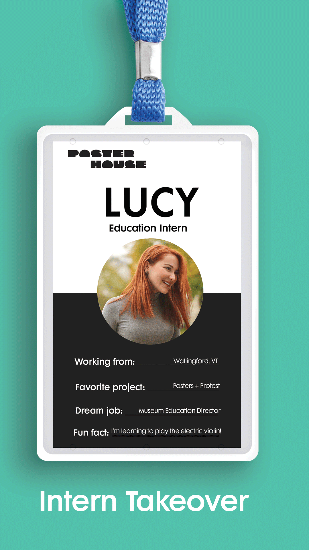 nametag on teal background featuring the name Lucy above a portrait of Lucy
