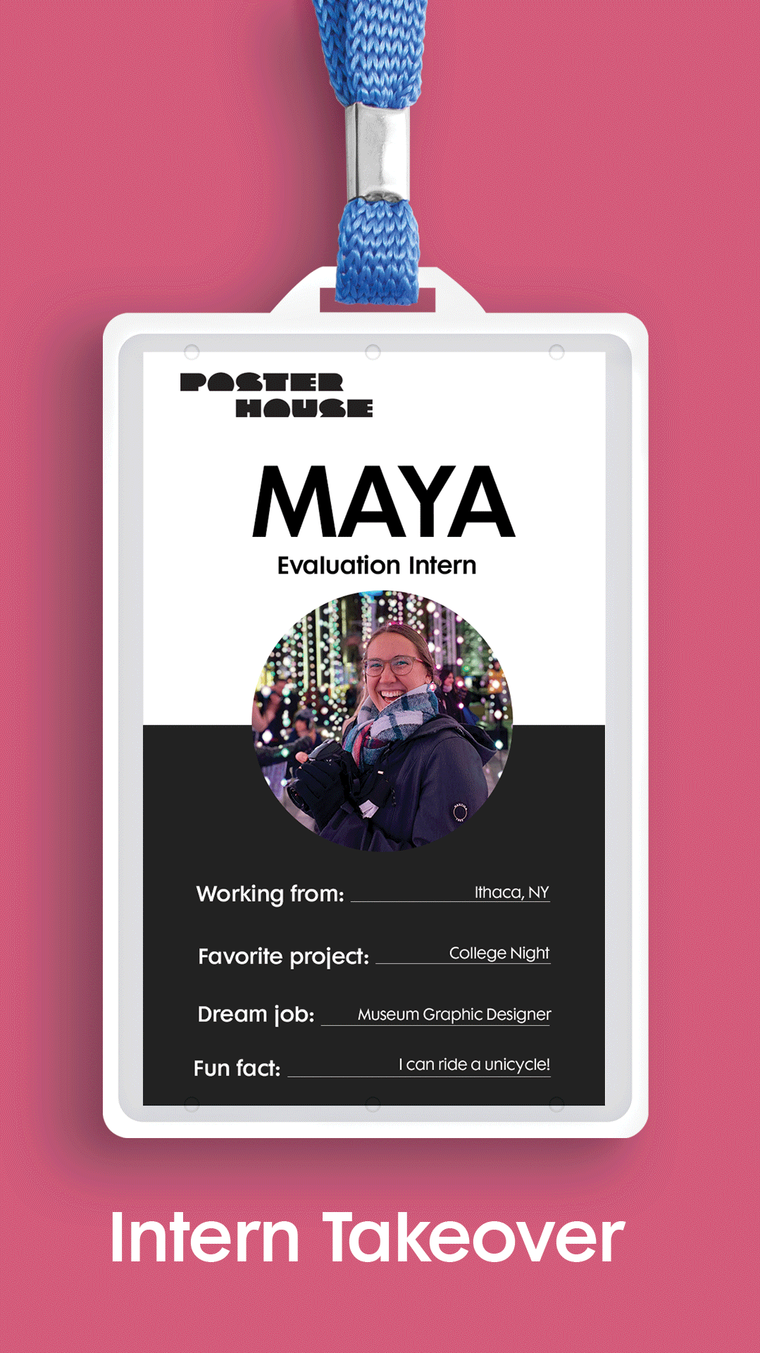 photo of a nametag on a pink background with a photo of a woman in a coat and the name Maya across the top