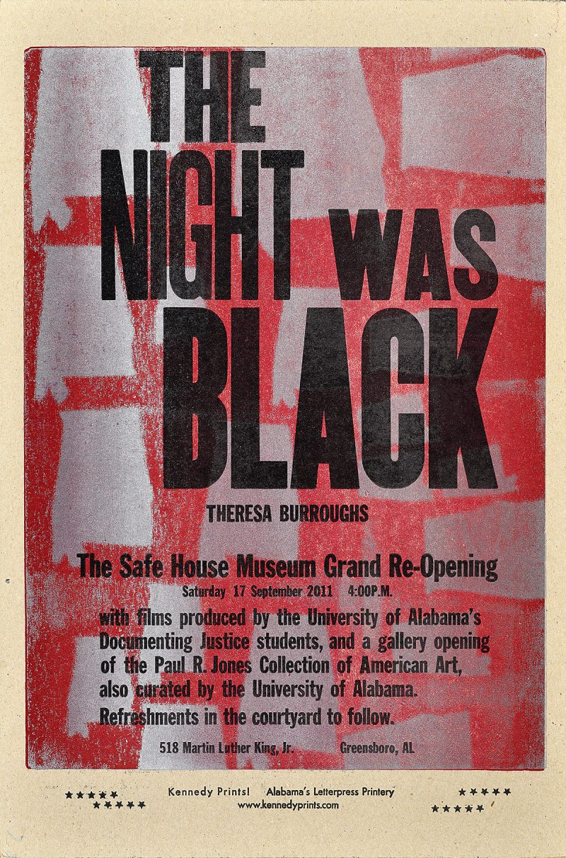 letterpress poster that says the night was black in black text on top of a pink background with silver silhouettes of Alabama throughout