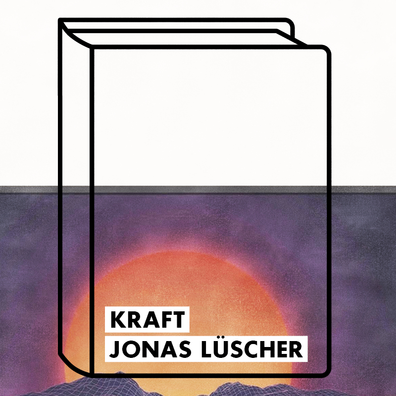 a half white image with a book doodle and a sun rising word Kraft written on the corner