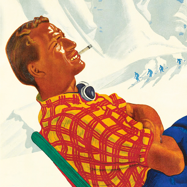 lithographic poster of a man in a red plaid shirt reclining in a chair, smoking and drinking coffee against snow capped mountains