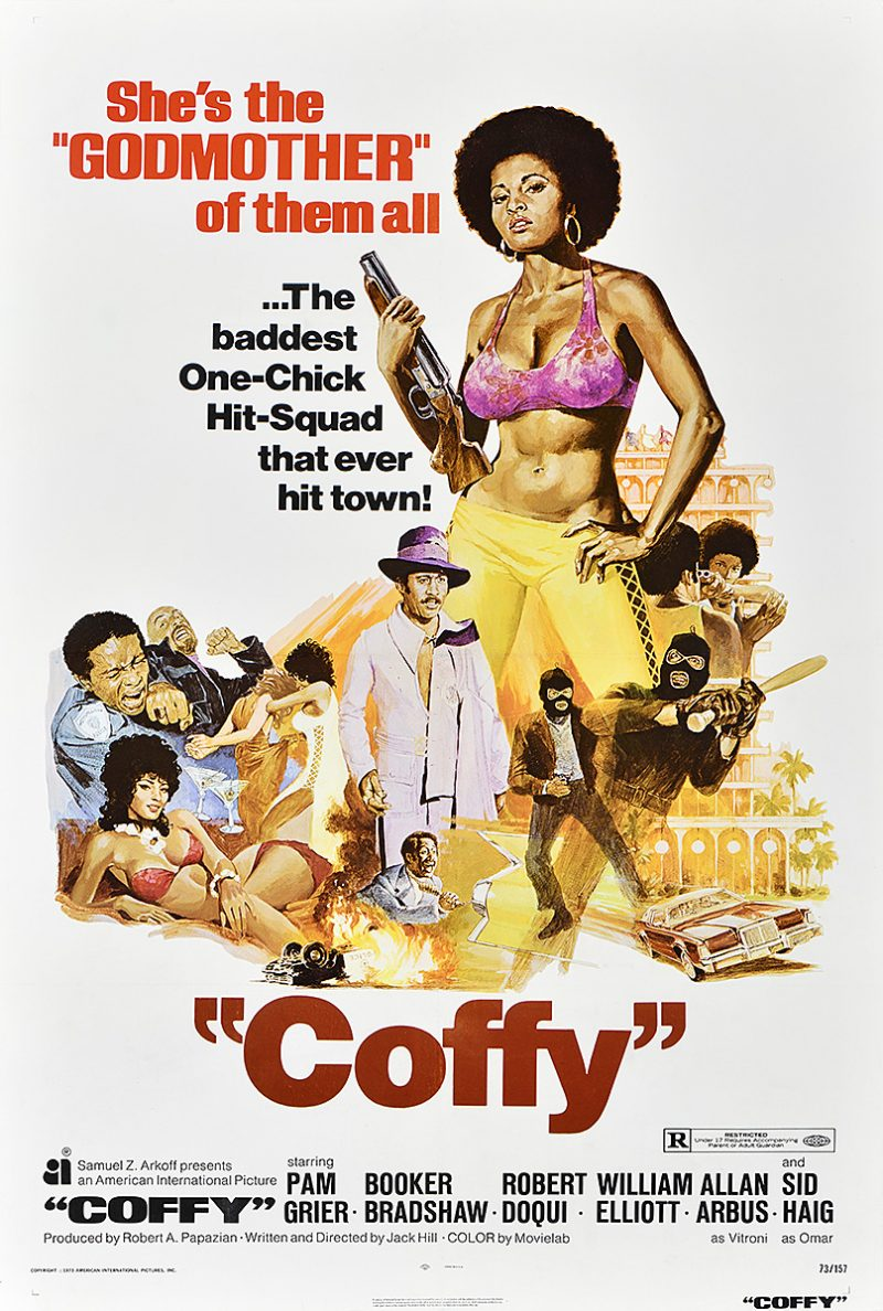 photo offset poster of a woman in a pink bra and yellow pants holding a large gun. below her are vignettes of action and sexy scenes in the movie