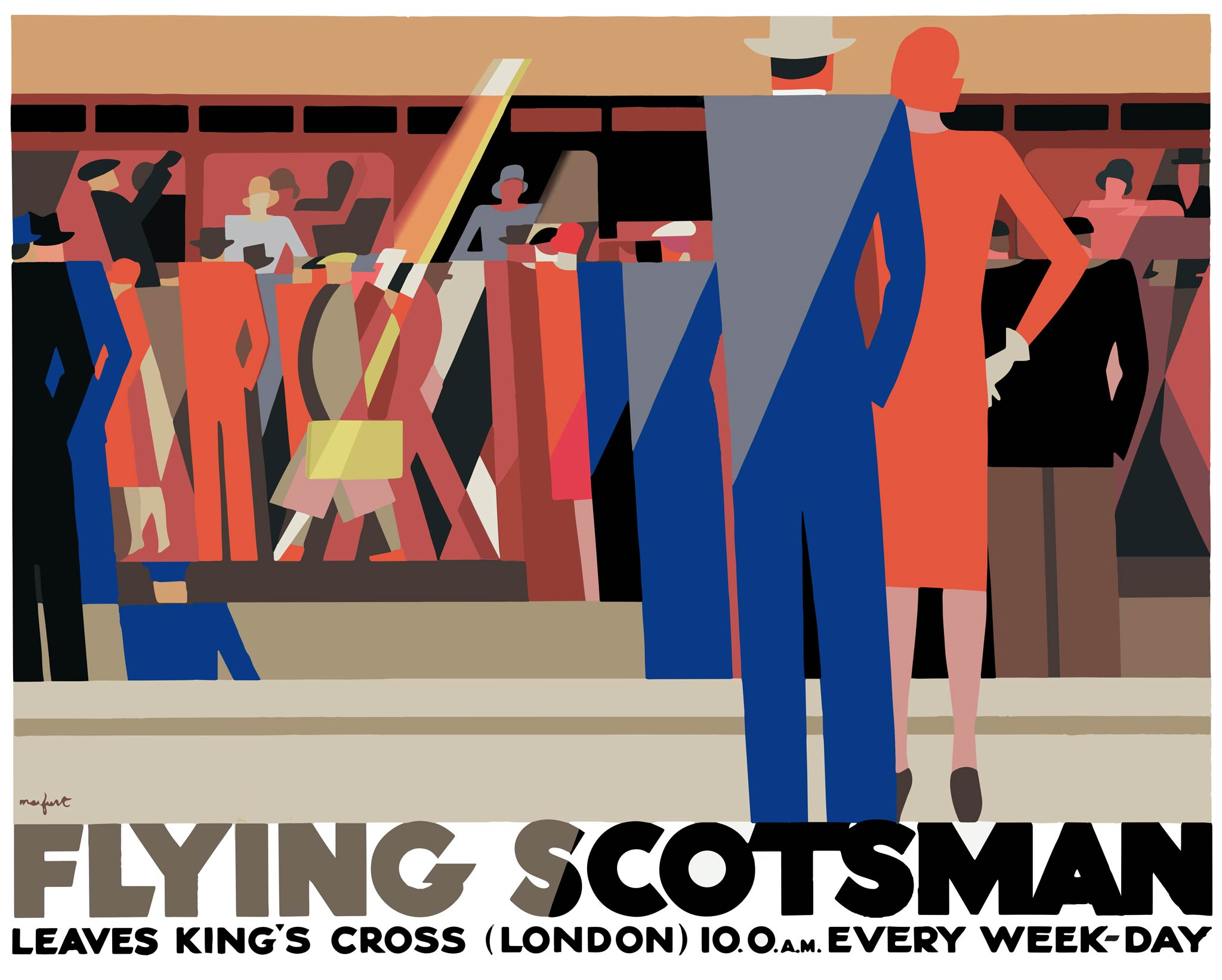 lithographic image of art deco silhouettes of passengers boarding a train