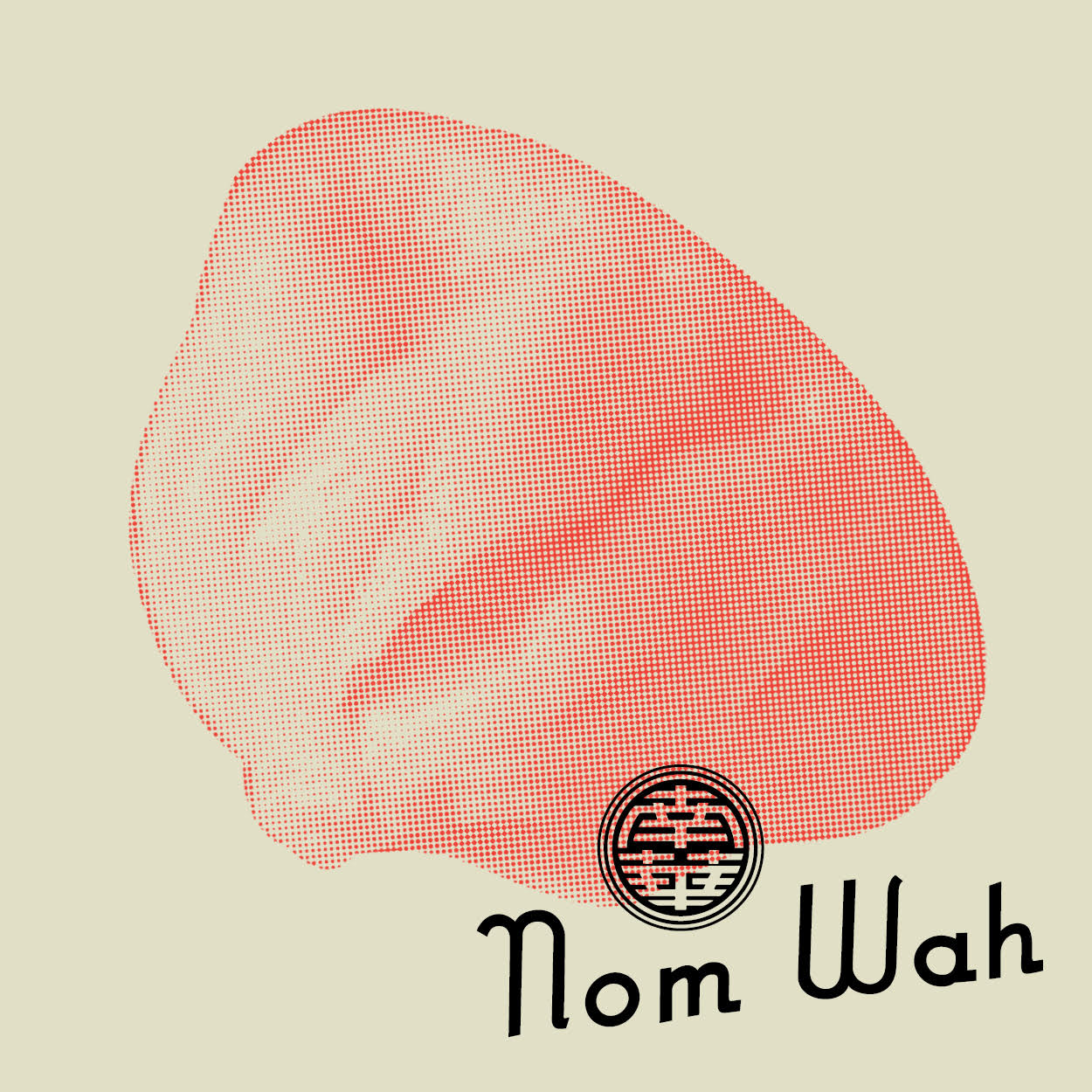 illustrated image of a coral-hued dumpling with the words nom wah across it