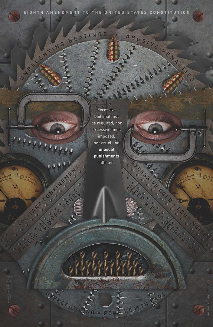 digital design of a face inside a menacing iron mask
