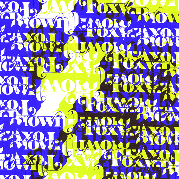 digital blue, black, and yellow image saying foxy brown repeatedly