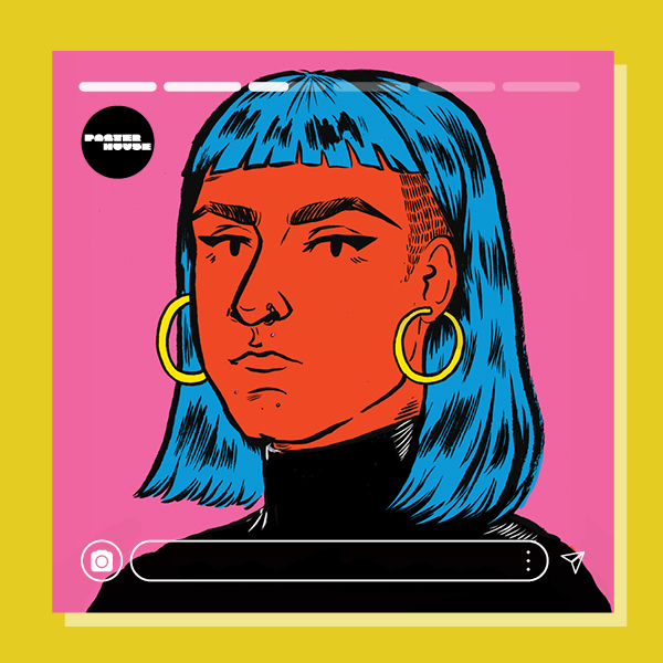 A self portrait of the artist, hair blue, big gold earrings and face in red with a black turtleneck. pink background. yellow frame and faux insta markers around.