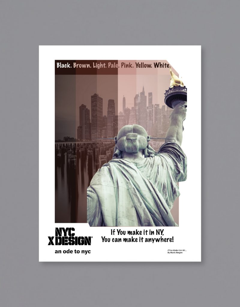 A poster showing the image of the back of the Statue of Liberty. The texts say