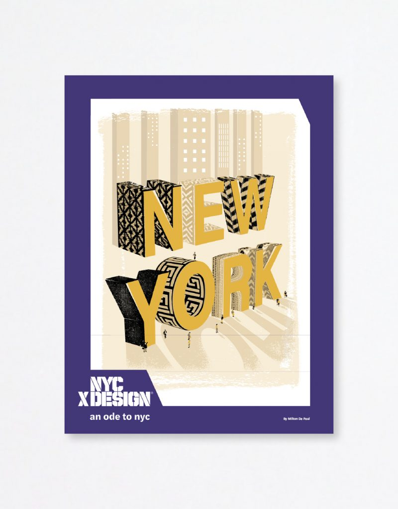 A poster showing the big 3D text, NEW YORK as if they are buildings. There are very small people around the texts.