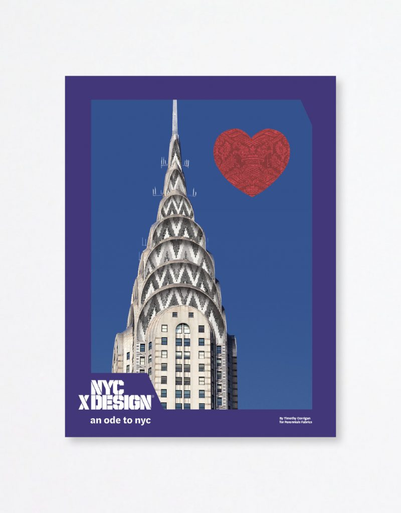 A poster showing a photo of the top of the Chrysler Building in the clear sky. there is a big red heart next to it.