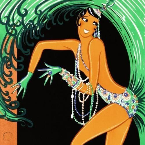 lithographic detail of a tan woman dancing in a showgirl ensemble