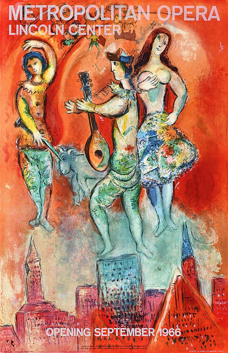 photo offset poster of a chagall painting. The background is swirling reds with three figures floating over a city skyline
