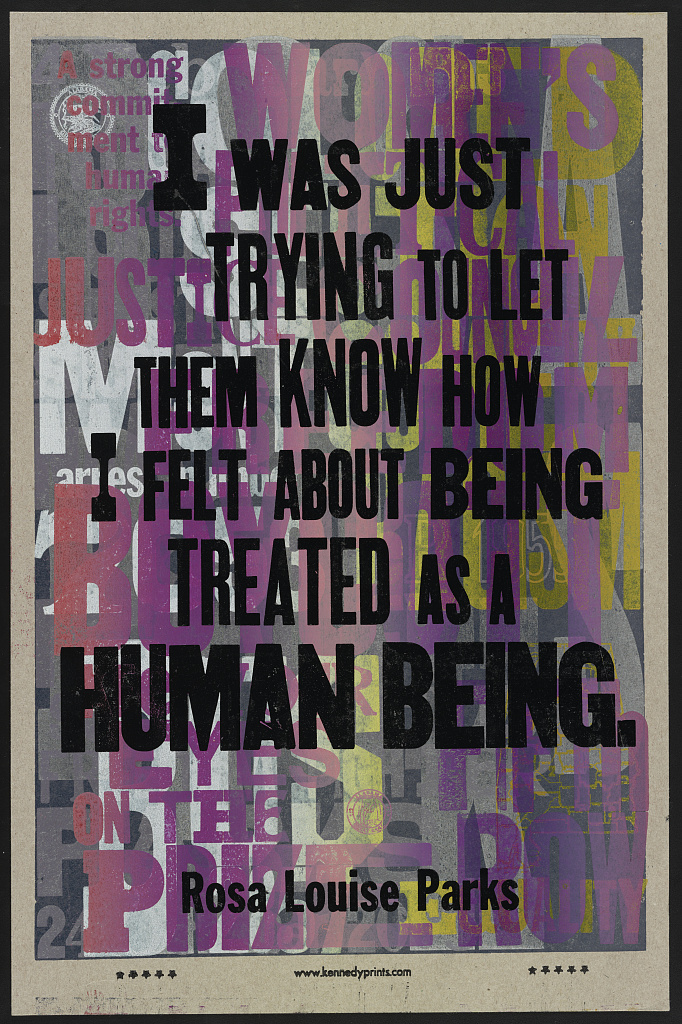 letterpress poster on a predominantly purple and silver background with black text saying i was just trying to let them know how i felt about being treated as a human being