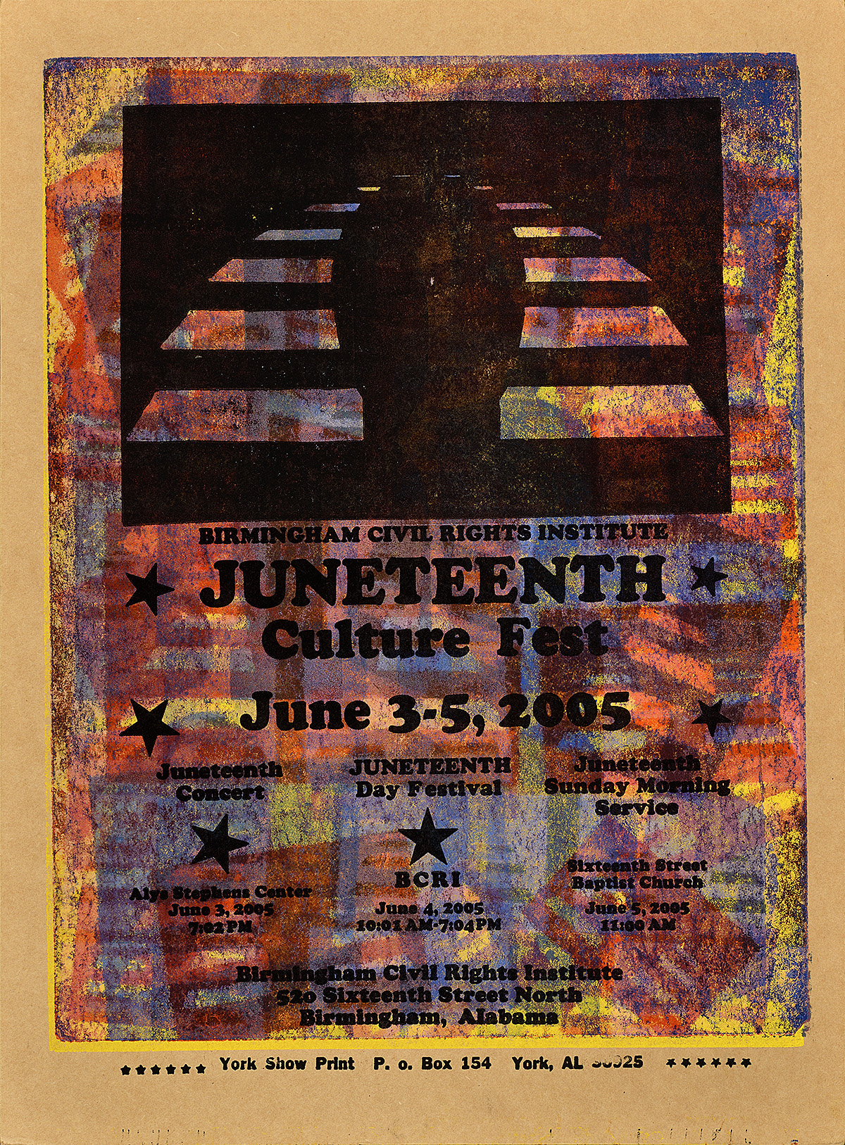 letterpress poster with a dark multicolored background. the silhouette of a figure against a striped backdrop fills the upper half of the page. the lower half lists three day's worth of events around juneteenth