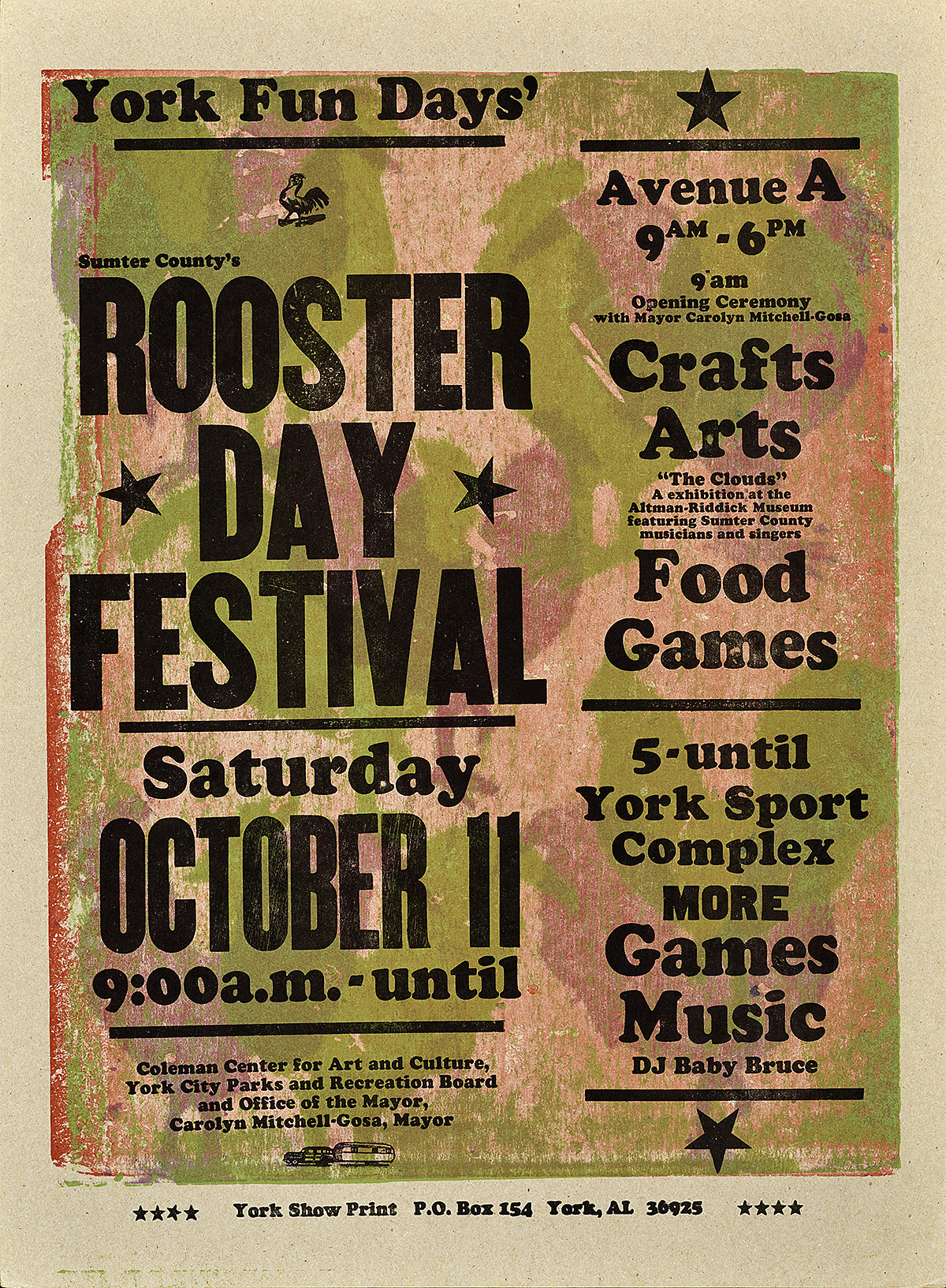 letterpress poster with the silhouette of green and purple roosters making up the background. in black text on top are the words rooster day festival with the lineup of activities