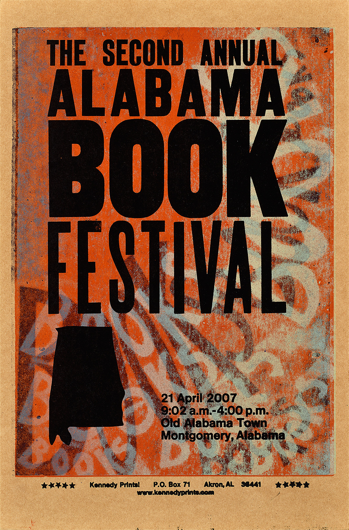 orange and red letterpress poster with an ombre background and the words books book books creating a negative impression in that color field. In black text on top of this are the words alabama book festival