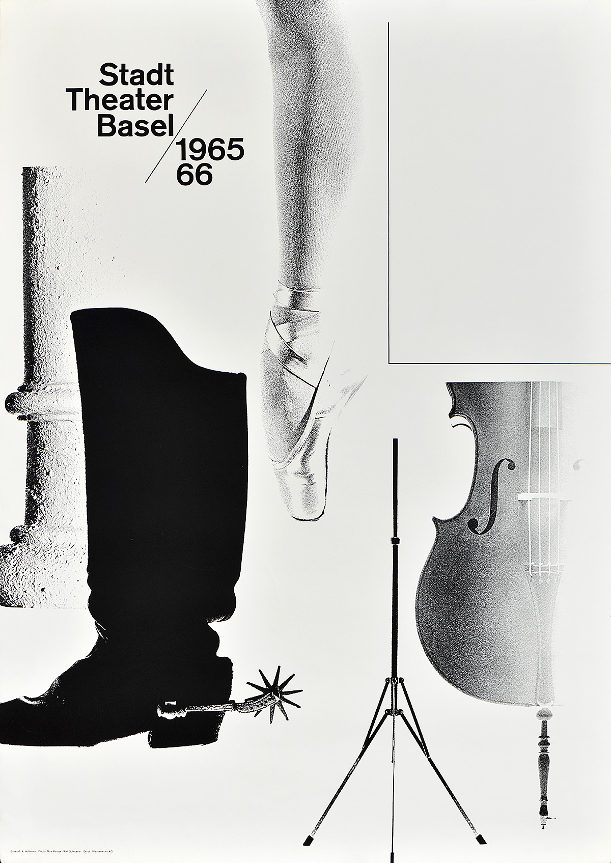 photographic poster of a series of vertical motifs, including a roman column, a cowboy boot, a ballet slipper, a music stand, and a cello