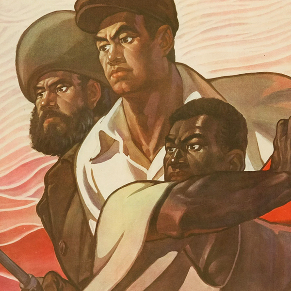 a cropped image of a lithographic poster featuring a Black, Chinese, and Russian man in fighting stances.
