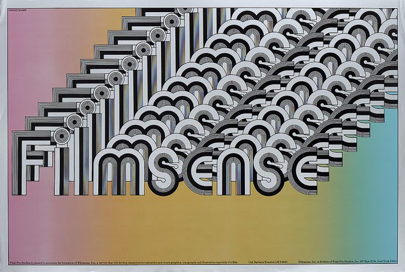photo offset poster of the word Filmsense in black and white script repeated and overlapping to infinity over a rainbow backgorund