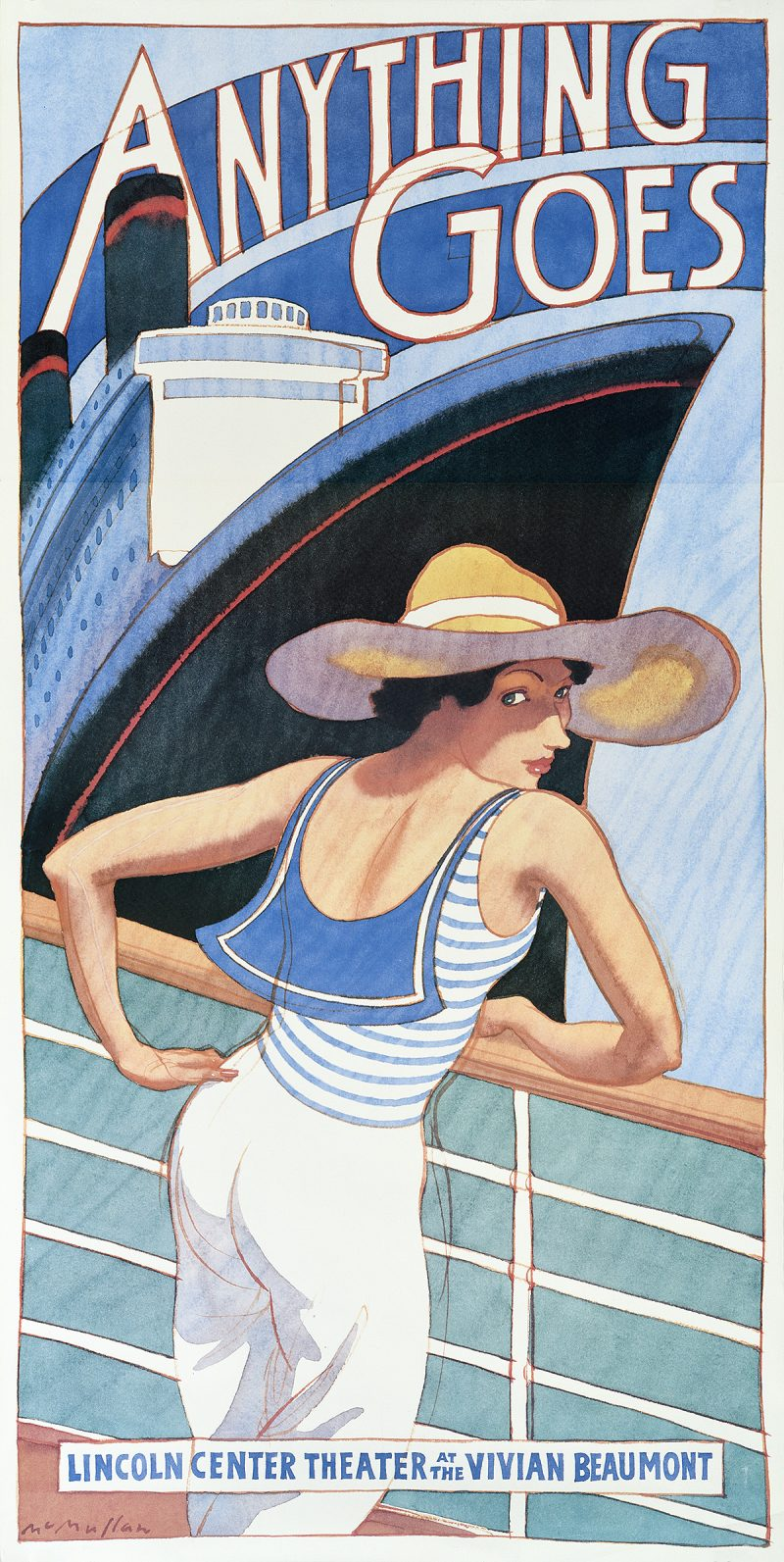 photo offset poster of a woman in a sailor costume leaning against a ship's railing, a large cruise liner in the distance