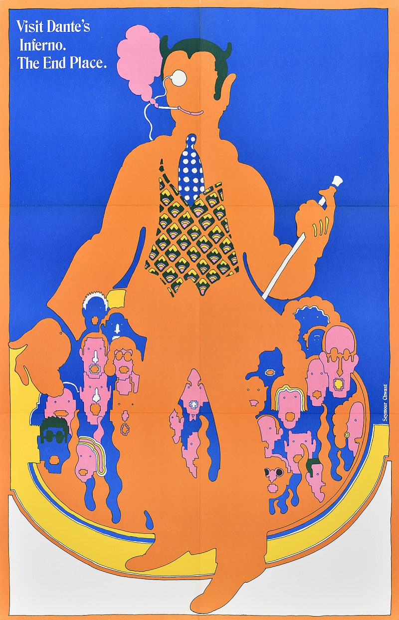 photo offset poster of a besuited orange figure with a cane and monocle overlapping a crowd of pink heads