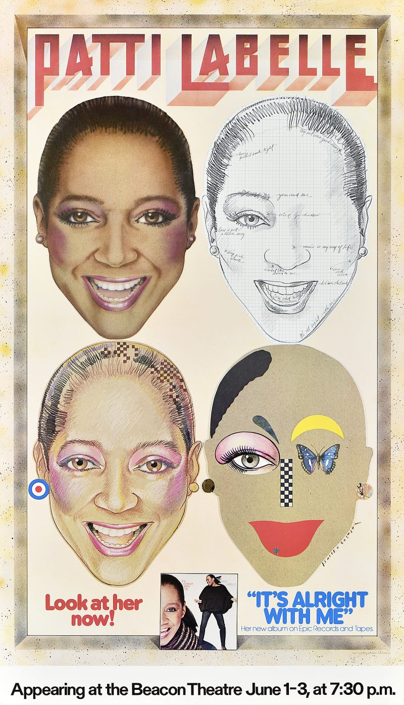photo offset poster of 4 faces of Patti Labelle in various styles