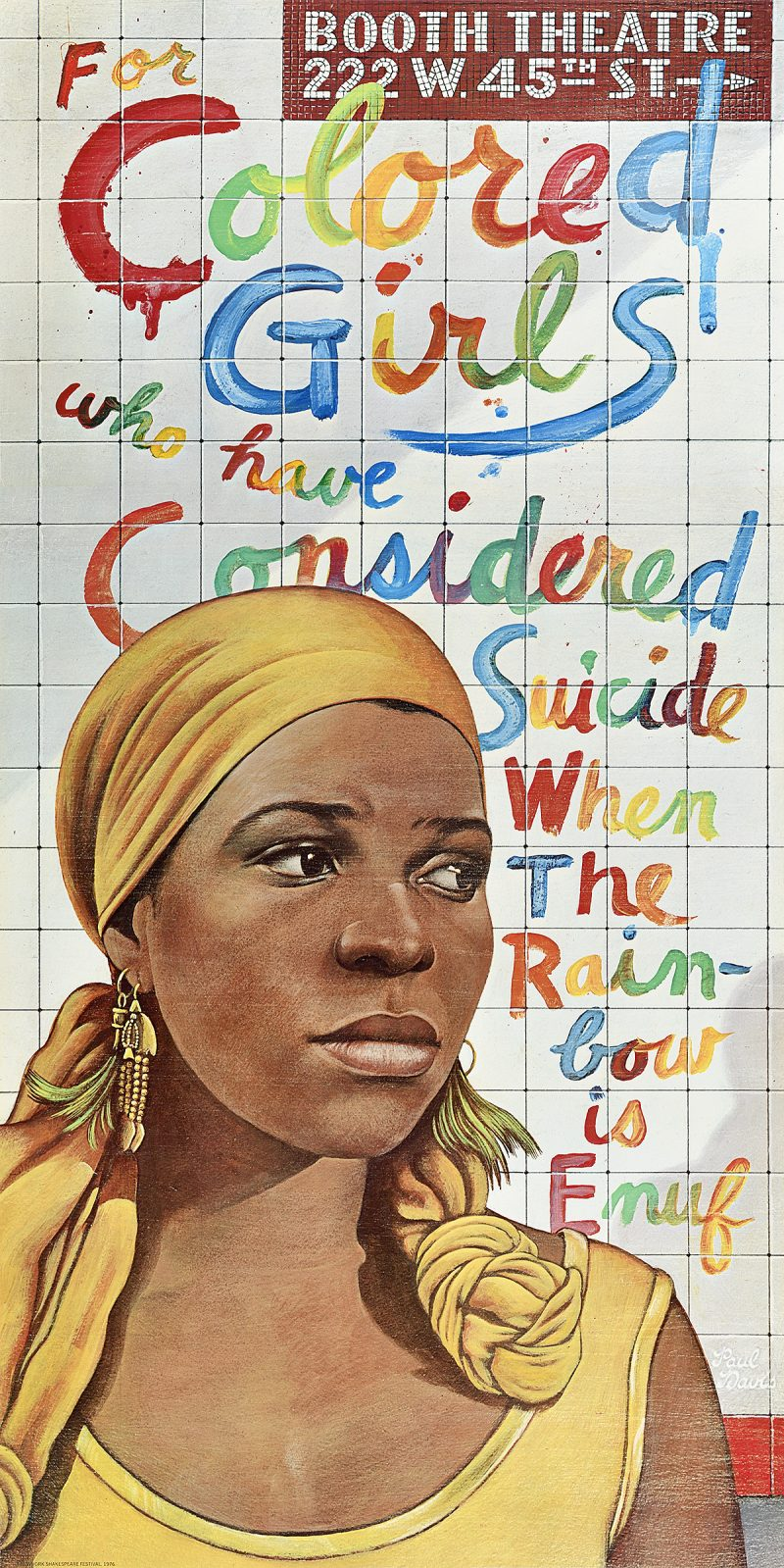 illustrational poster of a black woman staring off to the right in front of a tiled subway wall