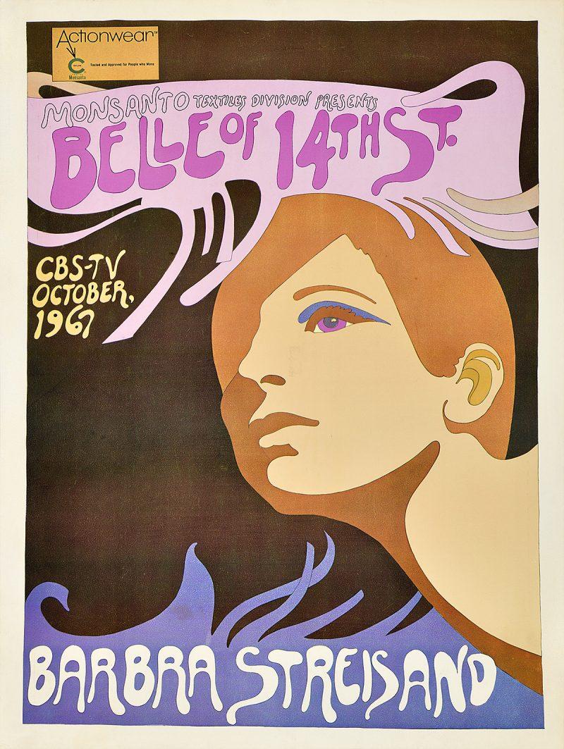 photo offset illustrational poster in purple hues of Barbra Streisand looking toward the upper left corner