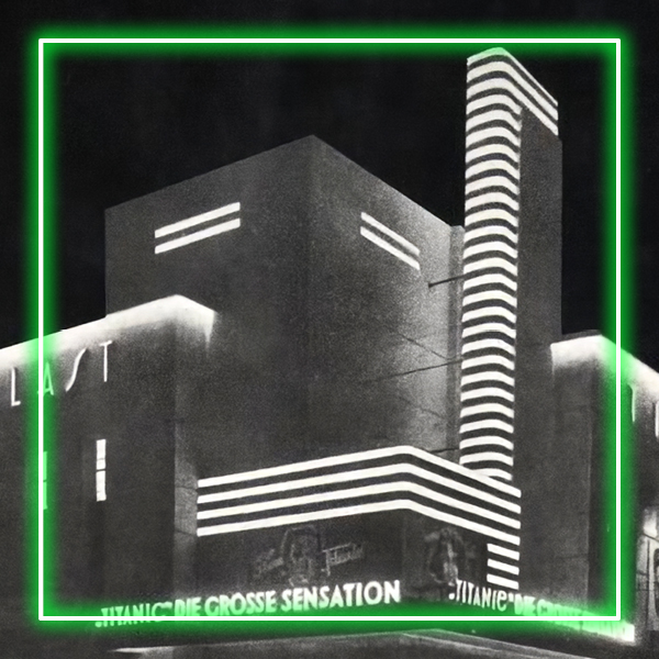 A black and white photograph of a building with neon, surrounded by a green neon square.