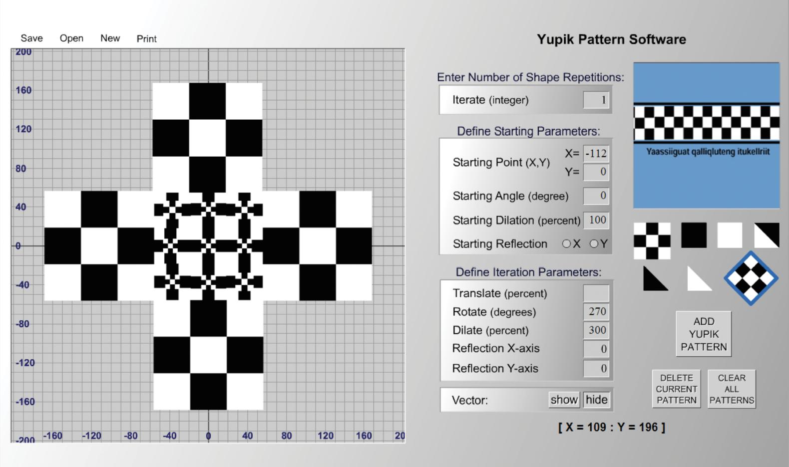 A black and white pattern created using Yupik Pattern software